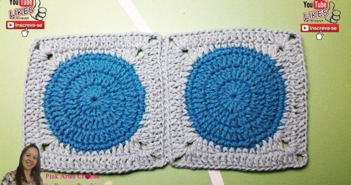 👊# Square Quadrado com circulo no meio - Pink Artes Croche by Rosana Recchia
