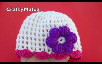 TUTORIAL CROCHET   GORRO TEJIDO PARA BEBÉ DE 0-9 MESES   tutorial fácil Gorro a Crochet  paso a paso
