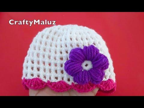 TUTORIAL CROCHET | GORRO TEJIDO PARA BEBÉ DE 0-9 MESES | tutorial fácil Gorro a Crochet  paso a paso