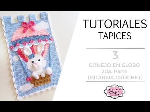 🍀 TUTORIAL TAPIZ CONEJO EN GLOBO | Amigurumi BUNNY Wall Hanging | Intarsia Crochet | 2/4