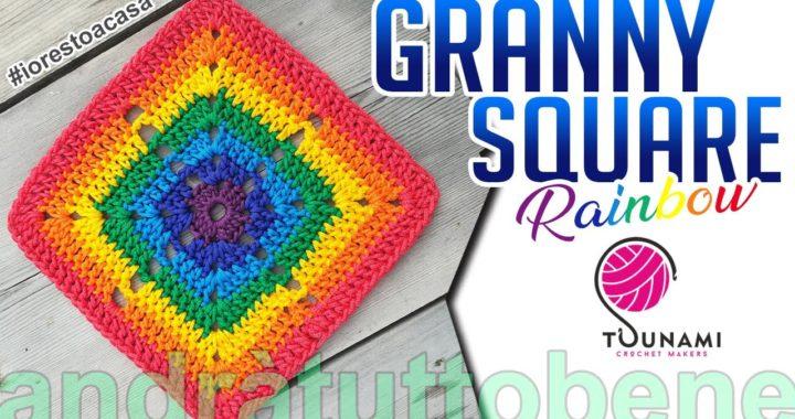 TUTORIAL UNCINETTO MATTONELLA RAINBOW/GRANNY SQUARE Crochet