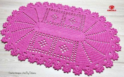 Tapete Oval em Crochê Fácil Balé Rosa 🌷 (Canhoto)