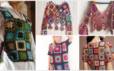 Trendi Stylish Handmade Crochet Knitted Granny Square Patterns Blouse & Dresses Designes