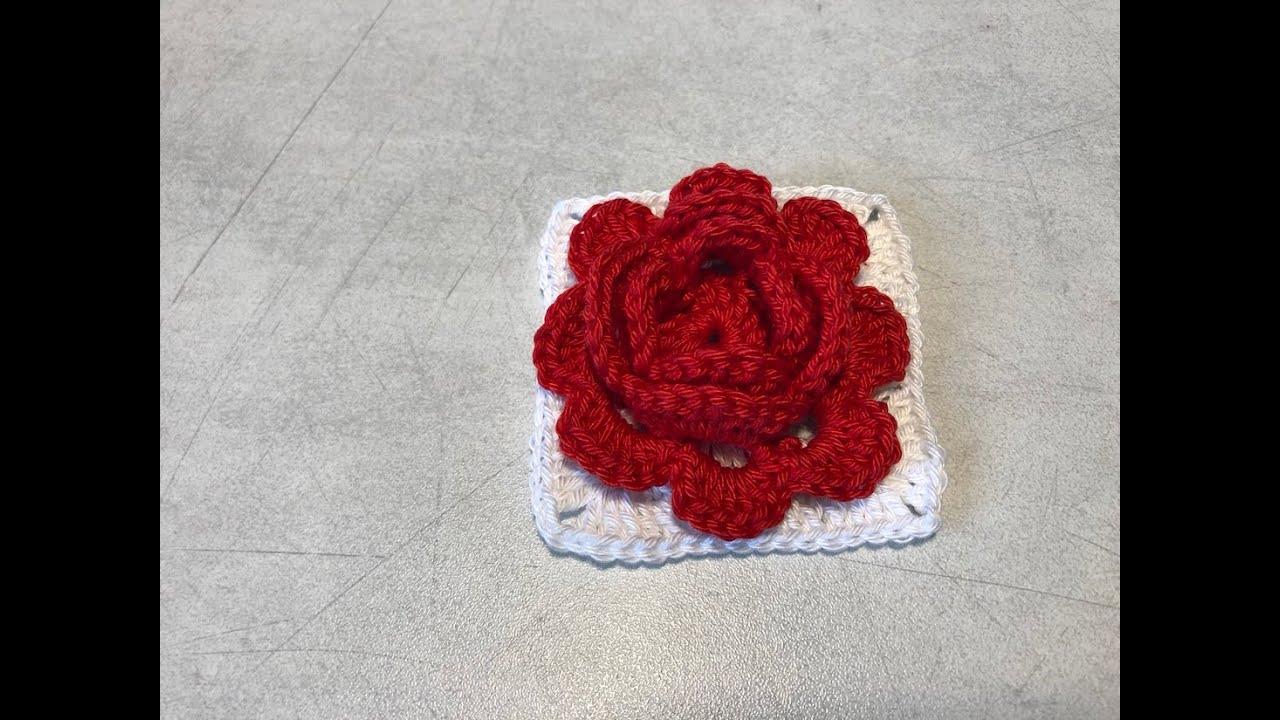 Tuto rose granny square au crochet