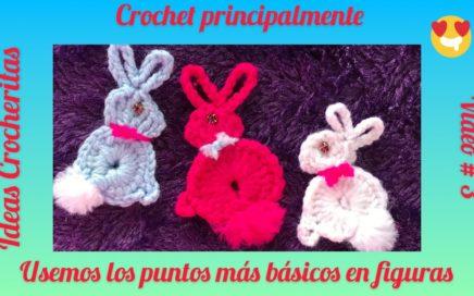 Tutorial Básico del Crochet #3/principiantes/Puntos en forma de Conejos/Aplicaciones/recuerdos💕🐰💕