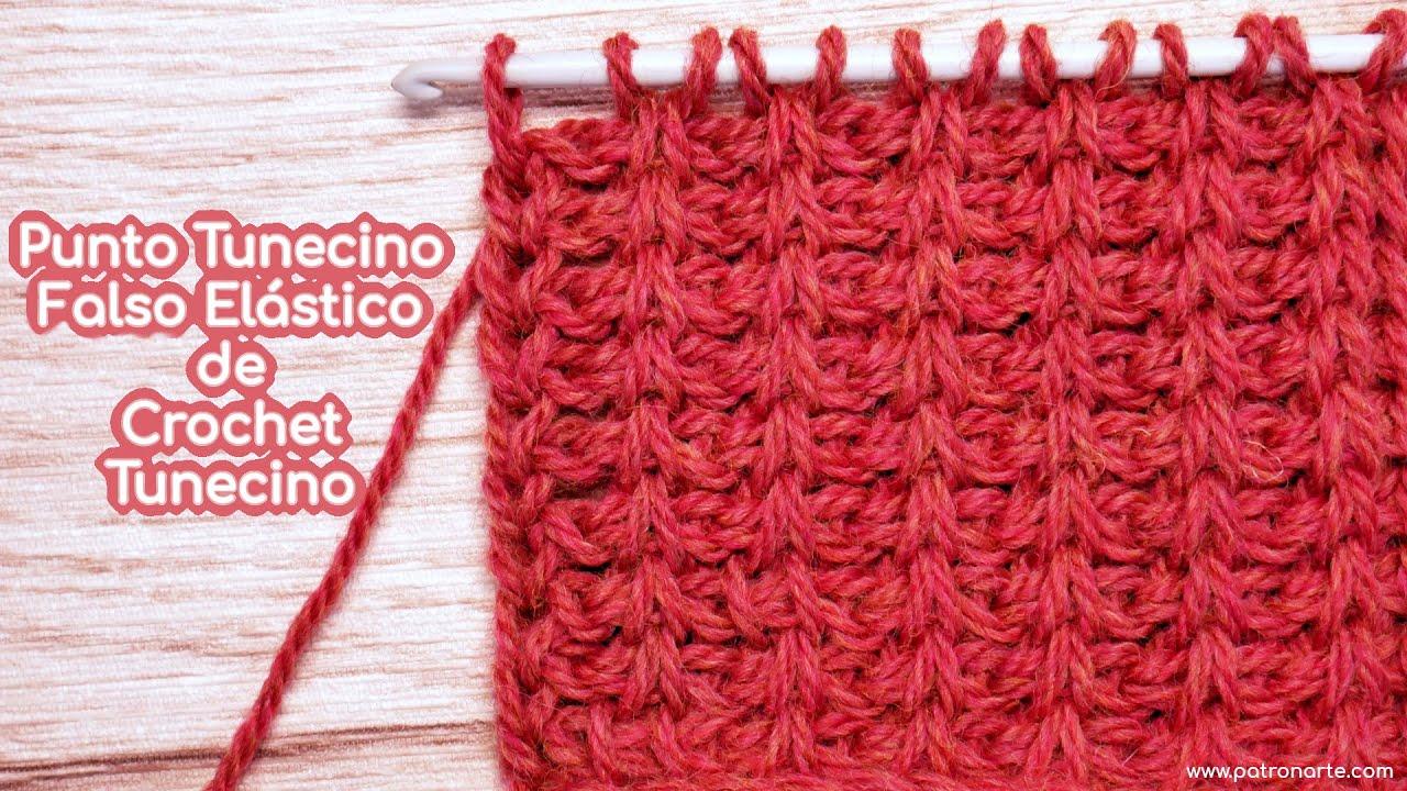 Tutorial Paso a Paso Cómo Tejer el Punto Tunecino Falso Elástico de Crochet Tunecino