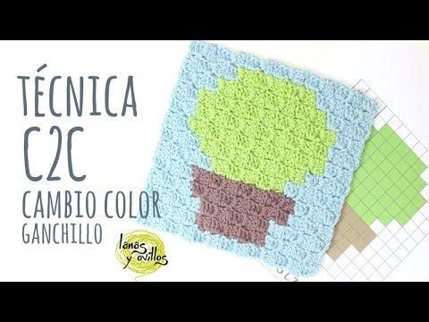 Tutorial Técnica C2C - Cambiando de color | Ganchillo - Crochet | Lanas y Ovillos