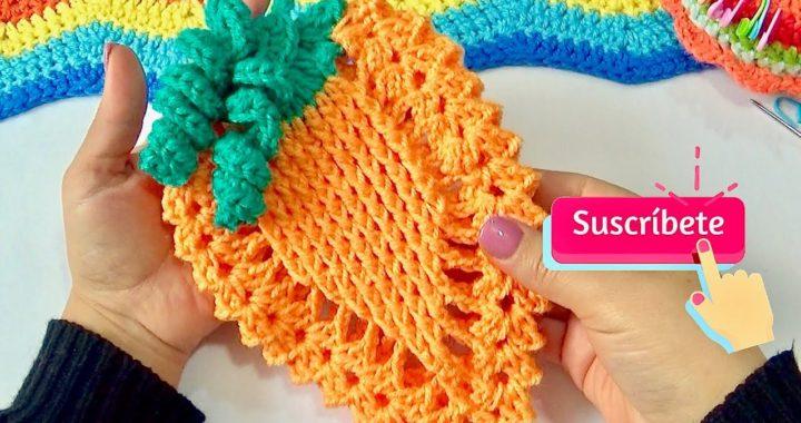 Zanahoria En Relieve Tejida a crochet  paso a paso