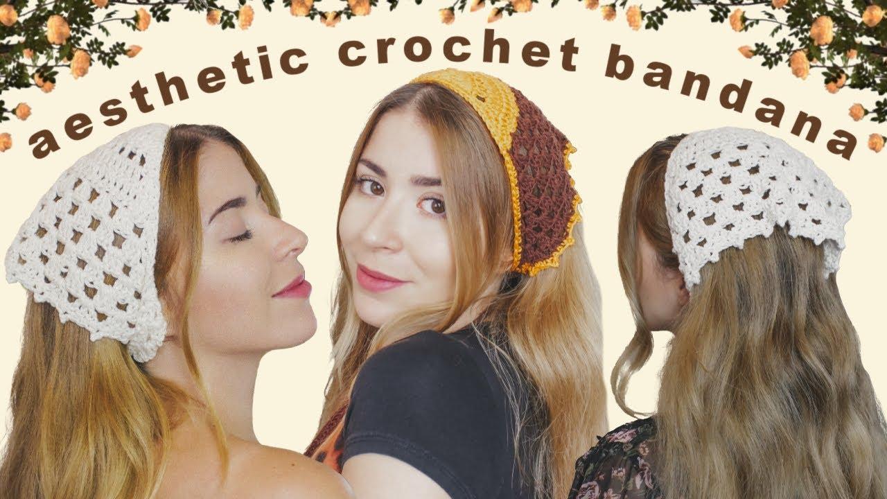 aesthetic crochet bandana ~ easy tutorial ✨