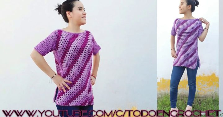 blusa a crochet para mujer, paso a  paso, facil y rapido de tejer en punto diagonal a ganchillo