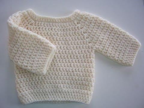 sueter tejido a crochet - 0 a 3 meses