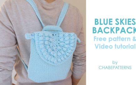 Blue Skies BACKPACK | FREE CROCHET PATTERN, INTERMEDIATE level, practical and cute BAG