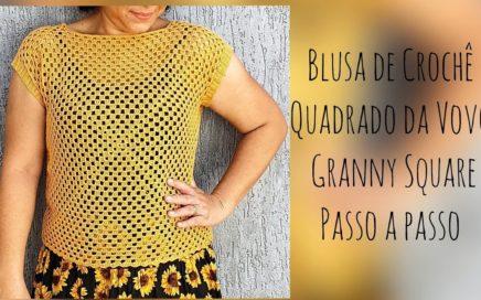 Blusa de Crochê Granny Square | Iniciantes Vários Tamanhos