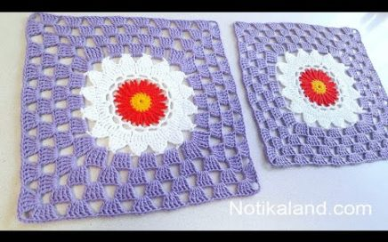CROCHET Big Square How to crochet  a square out of round motif