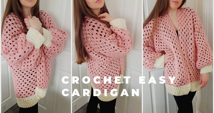 CROCHET PINK HEXAGON CARDIGAN | Crochet Easy Cardigan (& Free Written Pattern)