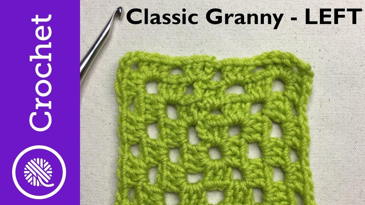 Classic Granny Square - Beginner Crochet Lesson 6 - Left Handed (CC)