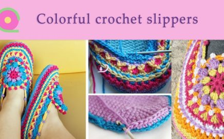 Colorful crochet slippers