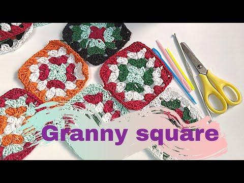 Como tejer Granny Square basico a crochet. tutorial paso a paso