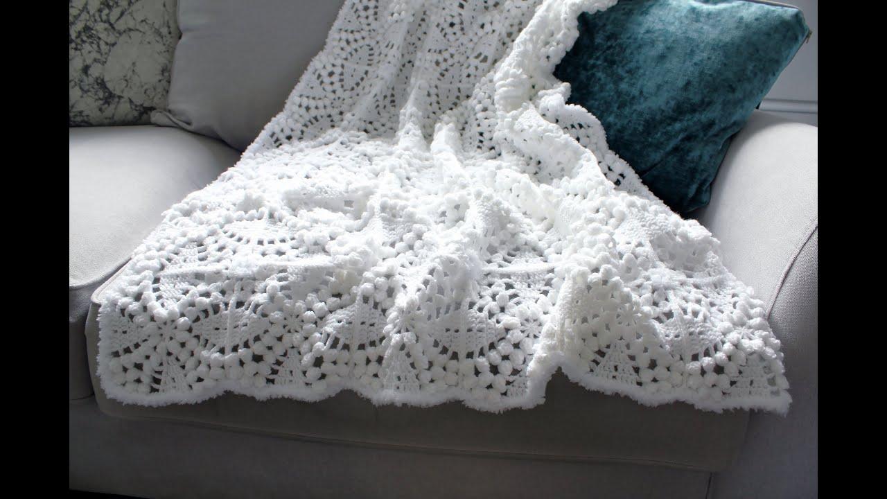 Crochet Blanket (How to Crochet Tutorial) popcorn stitch granny square. UK terms