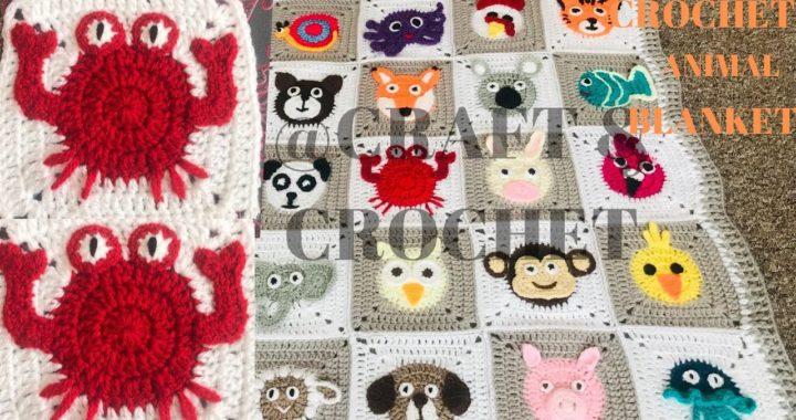 Crochet Crab/ Crochet animal blanket/crochet baby blanket/Part:15