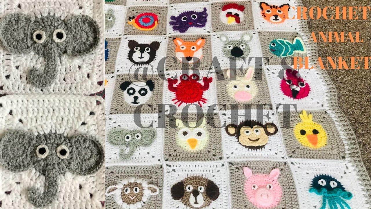 Crochet Elephant/Crochet Blanket Pattern/ Crochet animal blanket/Part:19