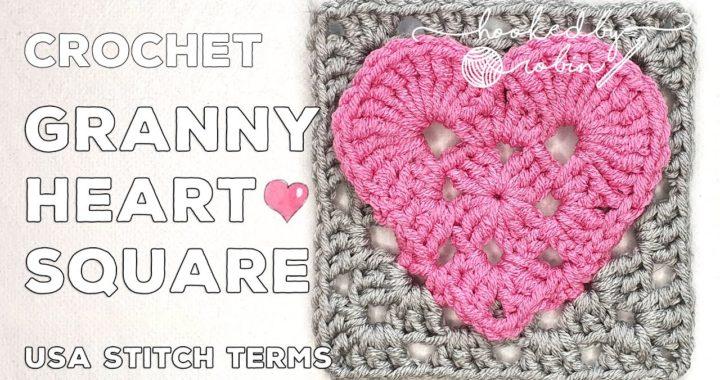 Crochet Granny Heart Square (Turn a Crochet Heart Shape into a Square)