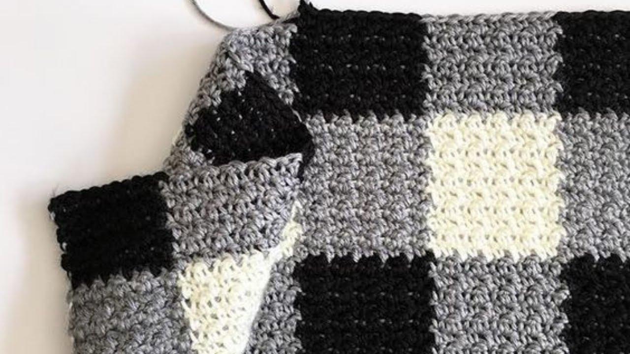 Crochet Griddle Stitch Gingham Blanket