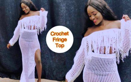 Crochet Mesh Top with Tassel Fringe
