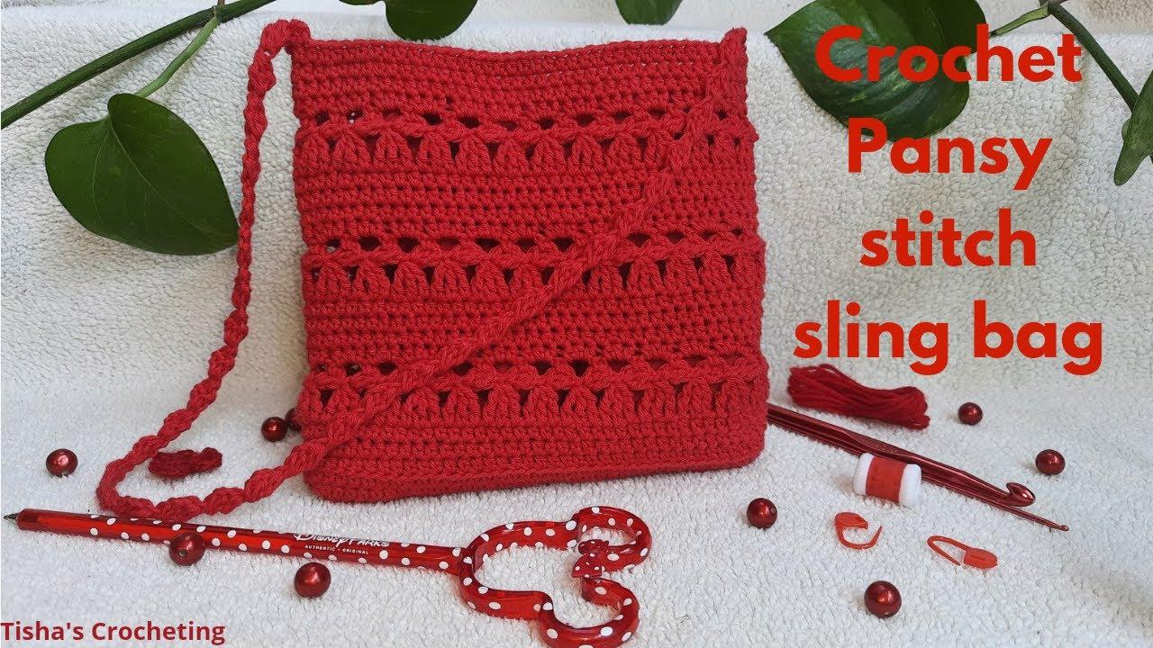 Crochet sling bag/Crochet pansy stitch sling bag
