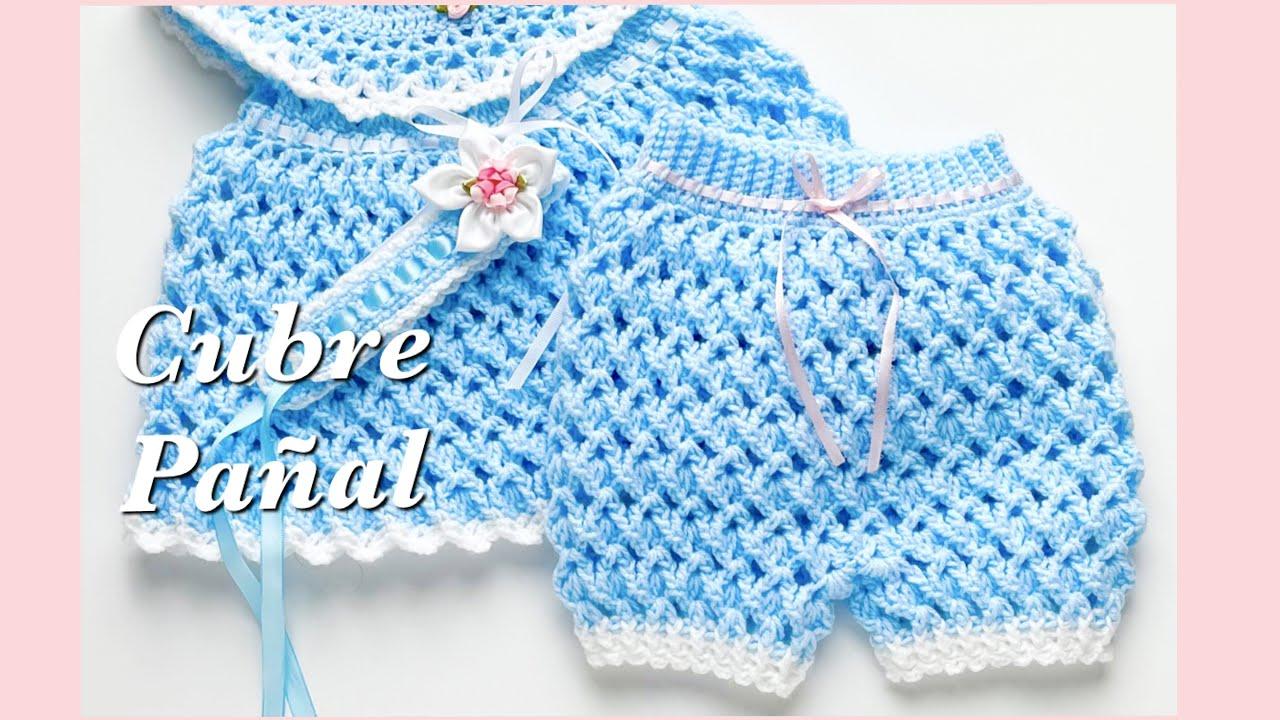 Cubre pañal o Braguita tejido a crochet paso a paso a juego con vestido para bebé a crochet FÁCIL
