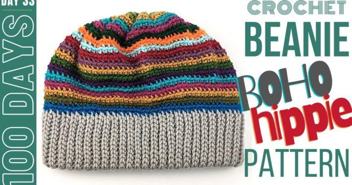 DIY Crochet Beanie - Day 33 - Easy Boho Beanie