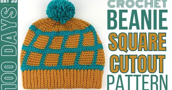 DIY Crochet Beanie - Day 35 - Square Cutout Pattern Beanie