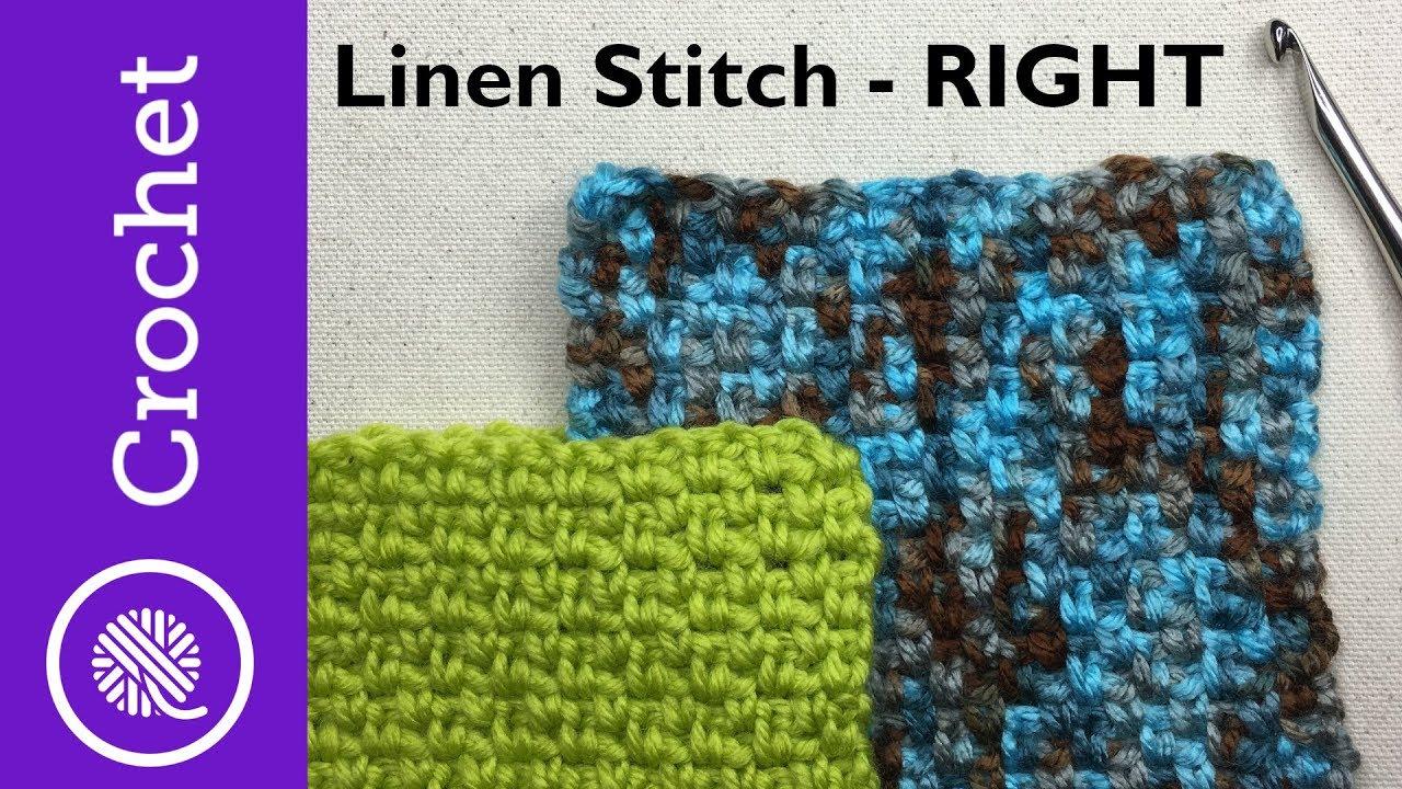 Easier Linen Stitch (Moss Stitch) - Beginner Crochet Lesson 5 - Right Handed (CC)
