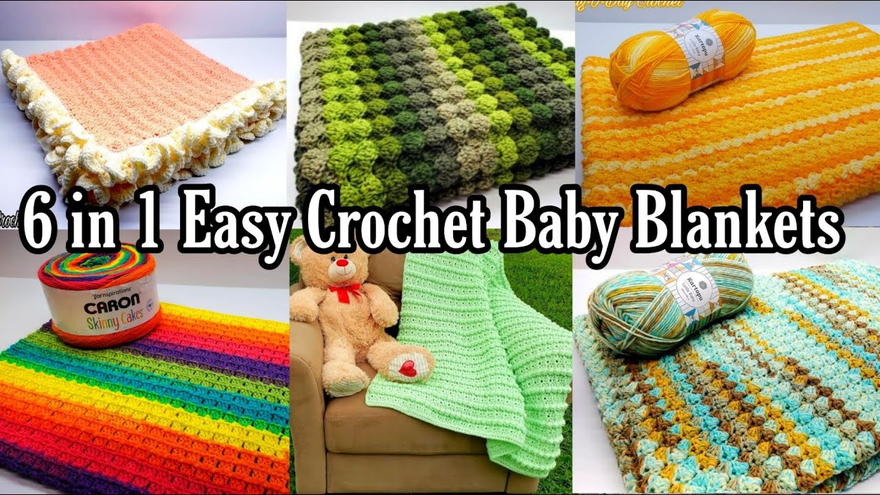 Easy Crochet Baby Blanket | 6 in 1 Easy Baby Blanket Pattern | Bag O Day Crochet Tutorial