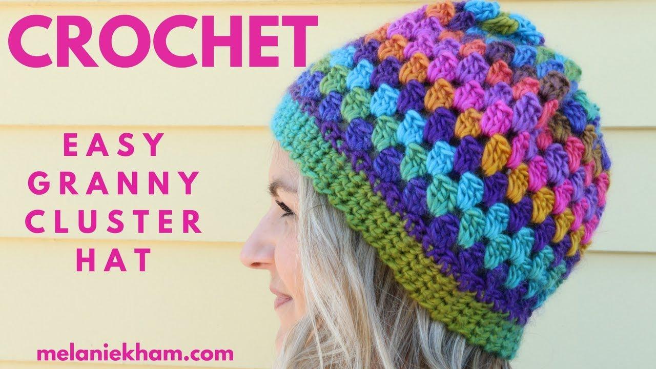 Easy Granny Cluster Crochet Beanie - Beginner Friendly