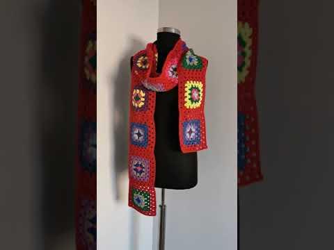 Granny square crochet scarfs