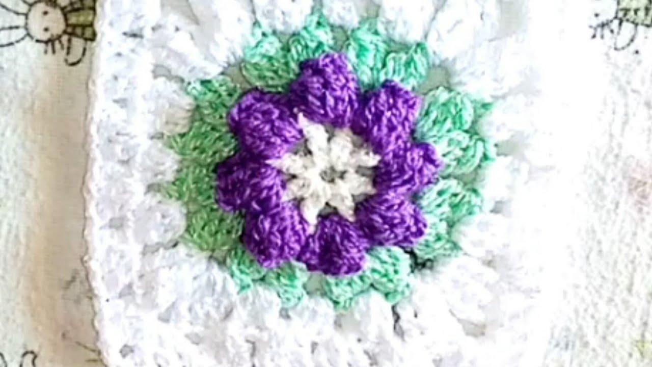Granny square o cuadrado de la abuela tejido a crochet con hermoso detalle en flor. 😍😍😍