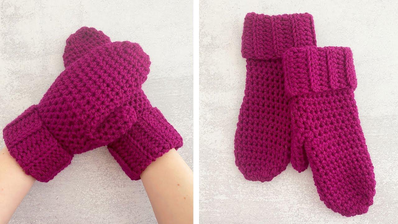 HOW TO CROCHET MITTENS FOR BEGINNERS   Crochet Boysenberry Mittens Tutorial