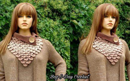 How To Crochet Crocodile Stitch Bandana Cowl | Mocha Rain | BAGODAY CROCHET TUTORIAL #524