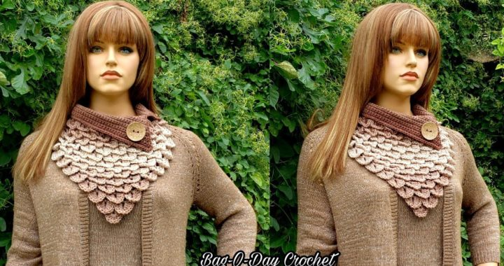 How To Crochet Crocodile Stitch Bandana Cowl | Mocha Rain | BAGODAY CROCHET TUTORIAL #524