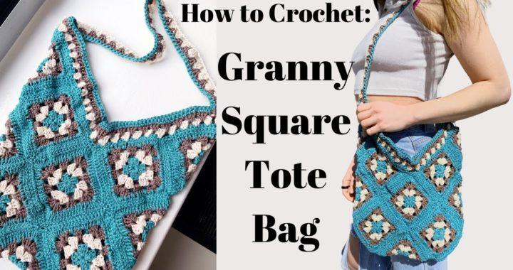 How to Crochet a Granny Square Tote Bag | Granny Square Crochet Market Bag Tutorial | DIY