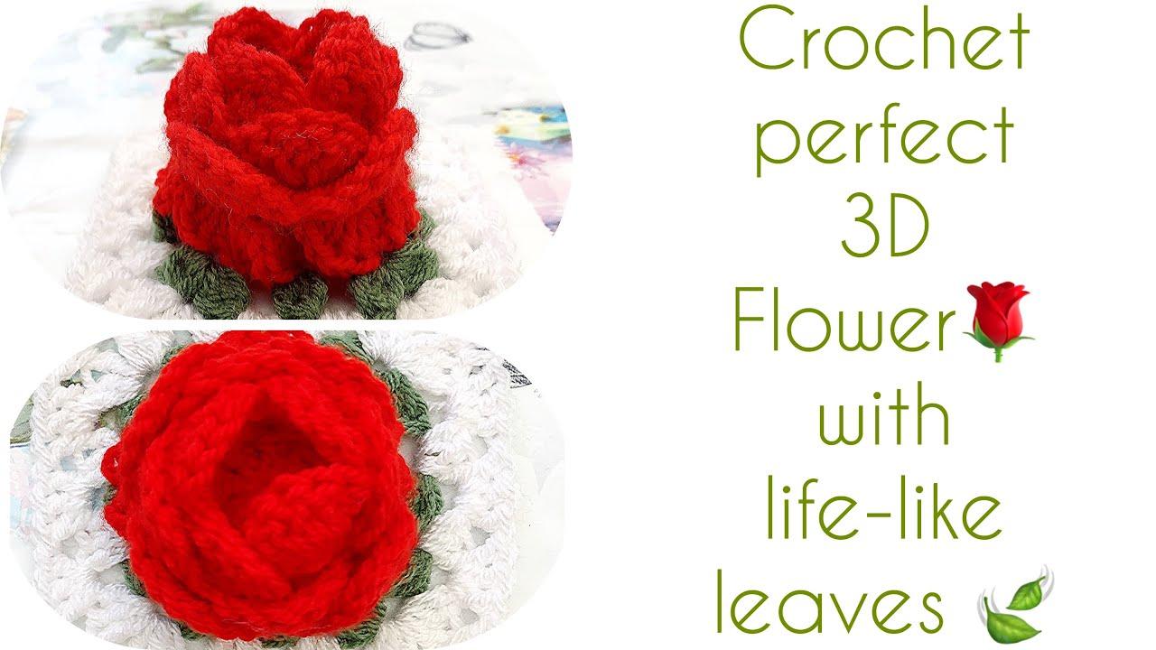 How to crochet flower Crochet 3d Flower granny square 🌹 easy crochet tutorial in English