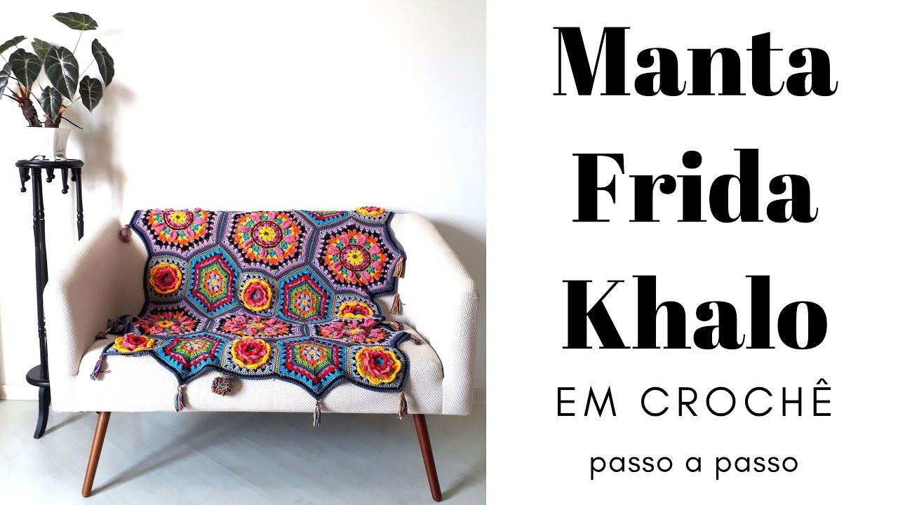 Manta de Croche Frida  - Casa Khalo Blanket - Katie Jones Knit - Paintbox Yarn