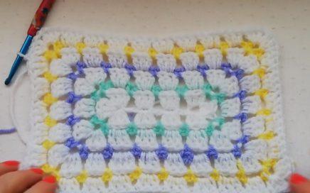 Modern granny stitch rectangle crochet tutorial, Crochet Nuts