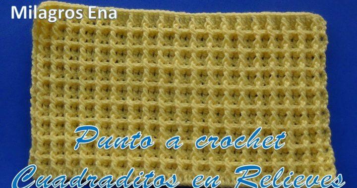 Punto a crochet Cuadrados en relieves para aplicar en cobijas, suéteres y chalecos