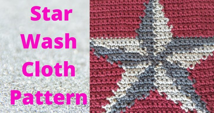 Star Wash Cloth Free Crochet Pattern | Crochet Colorwork Star Dish Cloth, Christmas Wash Cloth