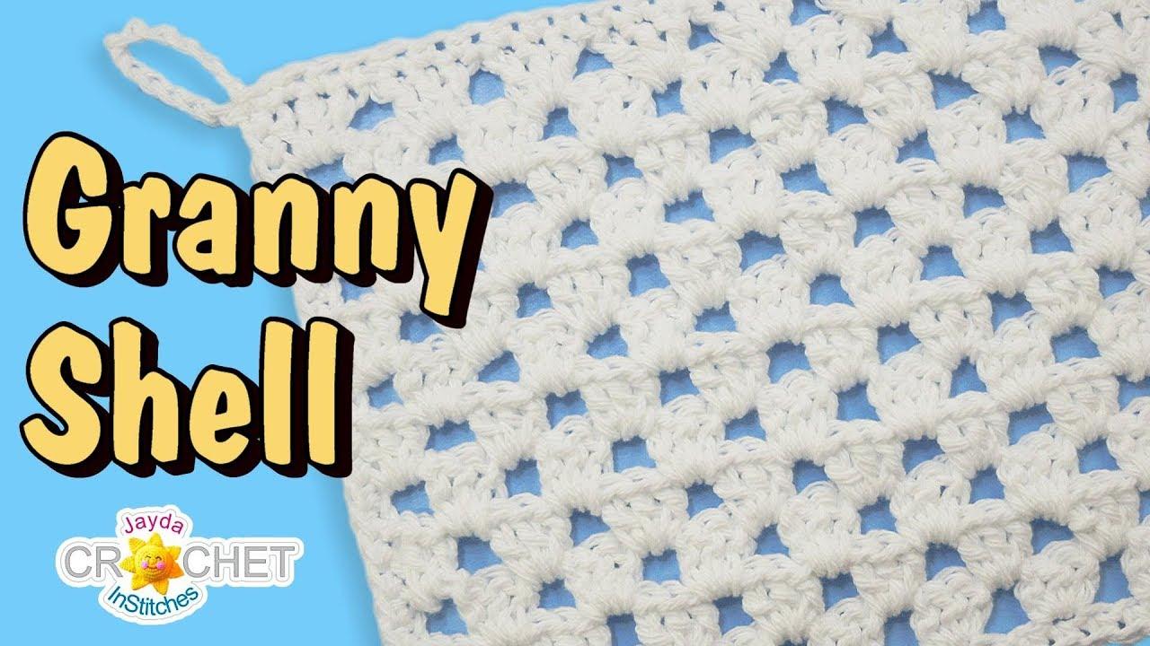 Straight Granny Shell Stitch Crochet Pattern & Dishcloth Tutorial