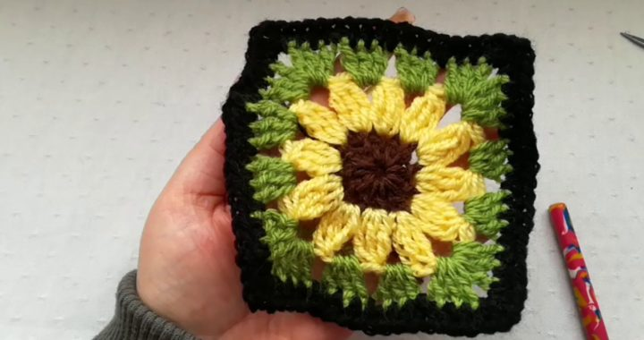 Sunflower granny square easy crochet tutorial Crochet Nuts