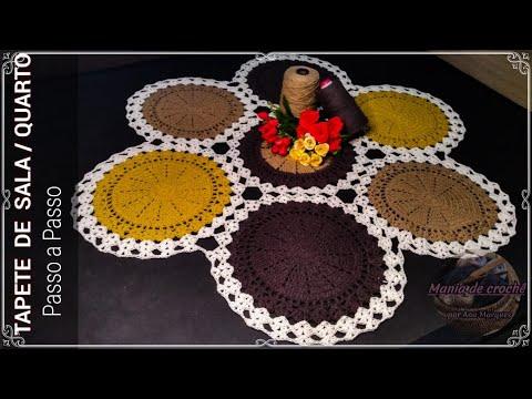 Tapetão de sala/quarto em crochê - vídeo aula- Passo a passo | Tapete redondo de crochê ( tejer )