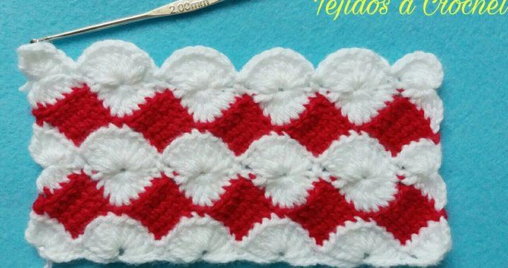 Tejidos a Crochet Muestra #17(Tutorial)Combinación de Puntos Tunecino y Abanicos.